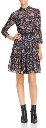 Rebecca Taylor Floral-Print Keyhole Dress