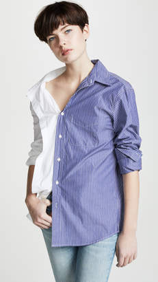 R 13 Off Shoulder Stripe Combo Shirt