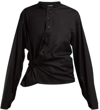 Lemaire Gathered Cotton Poplin Blouse - Womens - Black