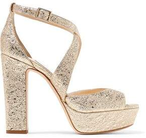 Jimmy Choo April 120 Metallic Cracked-Leather Platform Sandals
