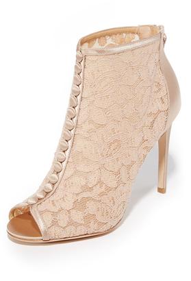 Badgley Mischka Nerina Lace Open Toe Booties $198 thestylecure.com