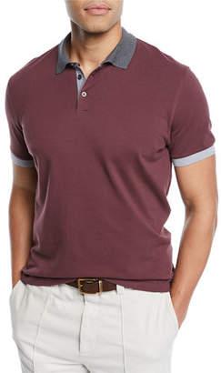 Brunello Cucinelli Men's Pique Polo Shirt with Contrast Trim