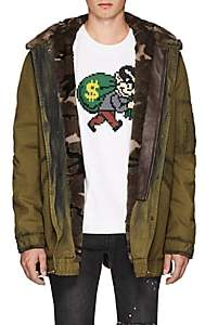 Mr & Mrs Italy Men's Fur-Lined Camouflage Cotton Parka-Green