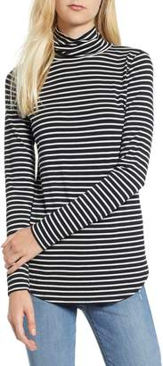 Lou & Grey Stripe Softened Jersey Turtleneck