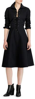 Polo Ralph Lauren Lace-Up Cotton Shirtdress