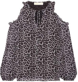 MICHAEL Michael Kors Cold-shoulder Printed Chiffon Blouse - Gray