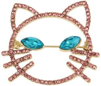 Betsey Johnson Just Kitten Pink Blue Crystal Cat Face Pin