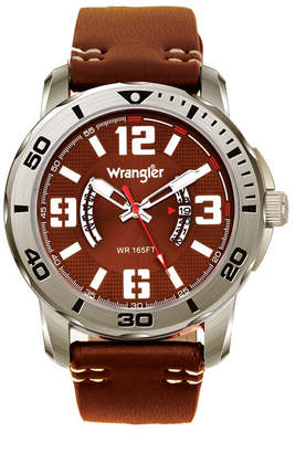 Wrangler Men Watch, 48MM Silver Colored Case with Black Printed Arabic Numerals on Outer Steel Bezel, Brown Dial with Dual Crescent Windows, Date Window, Brown Strap with White Accent Stitch Analog