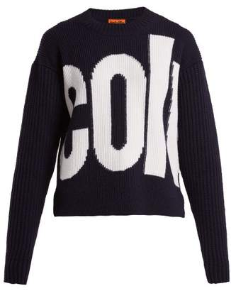 Colville - Logo Intarsia Wool Sweater - Womens - Navy White