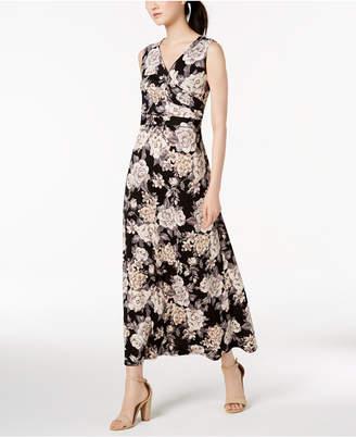 NY Collection Petite Printed Surplice Maxi Dress