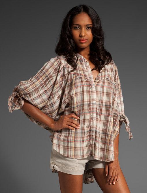 Ever Temuco Plaid Oversized Caftan Shirt