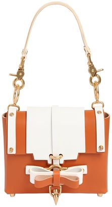 Small Bow Buckle Two Tone Leather Bag $749 thestylecure.com