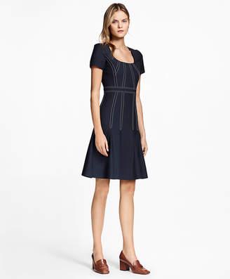 Brooks Brothers Pleated Wool Crepe Dress