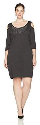 Star Vixen Women's Plus-Size Cutout Shoulder Stud Trim Bodycon Dress, Charcoal Grey with Silver