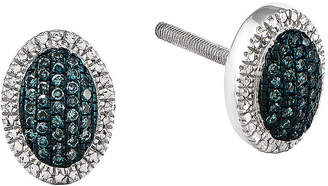 FINE JEWELRY 1/10 CT. T.W. White and Blue Color-Enhanced Diamond Sterling Silver Oval Earrings