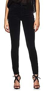J Brand Women's Maria Velvet High-Rise Skinny Jeans-Black