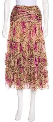 Oscar de la Renta Printed Midi Skirt