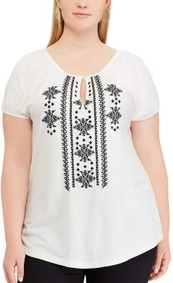 Chaps Plus Size Embroidered Top