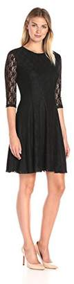 Lark & Ro Women's Lace Three Quarter Sleeve Knit Fit and Flare Dress