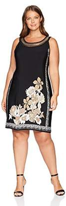 Sandra Darren Women's Plus Size 1 PC Sleeveless Printed Border ITY Necklace Shift Dress