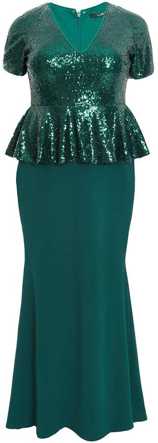 Curve Emerald Sequin Peplum Maxi Dress