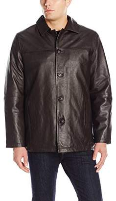 Excelled Leather Men's Four-Button Lambskin Leather Car Coat