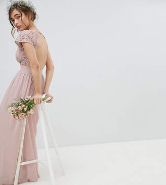 TFNC Petite Petite Maxi Bridesmaid Dress with Scalloped Lace and Open Back