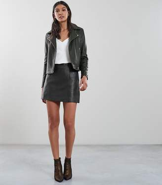 Reiss Our last order date for Christmas has now passed GIA LEATHER BIKER JACKET Green Moss