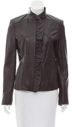MICHAEL Michael Kors Leather Ruffle Front Jacket