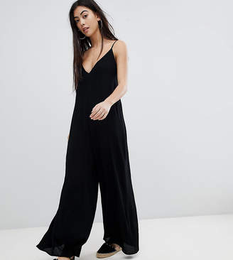 Asos DESIGN Petite Deep V Strap Back Jumpsuit