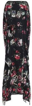 Roberto Cavalli Tie-Front Floral-Print Silk-Chiffon Gown