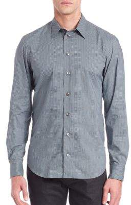 Giorgio Armani Zigzag-Dot Woven Cotton Button-Down Shirt