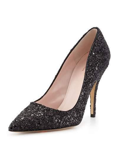 Kate Spade New York Licorice Glitter Pointed-Toe Pump, Black