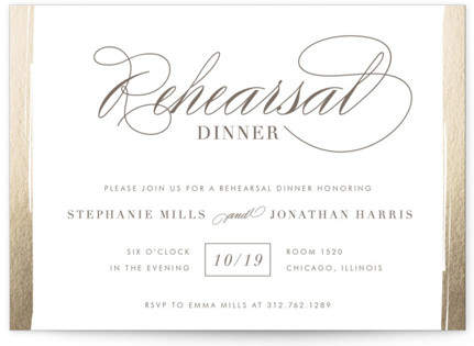 Golden Rehearsal Rehearsal Dinner Invitations