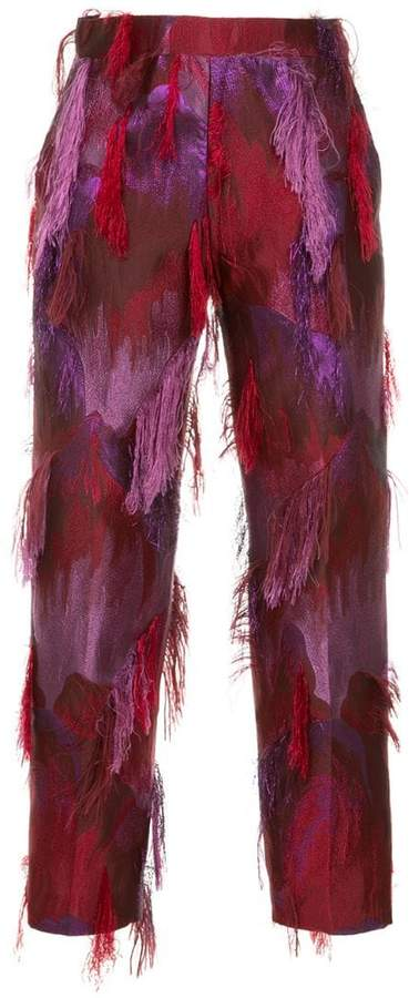 Taller Marmo fringed jacquard trousers