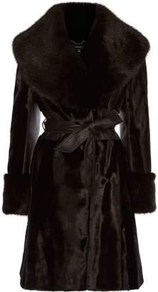 Karen Millen Faux Fur Wrap-Around Coat