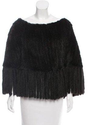 Adrienne Landau Knit Mink Poncho