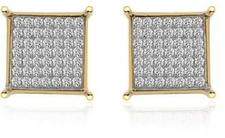 14K Yellow Gold Diamond Accent Micro Pavé Square Stud Earrings