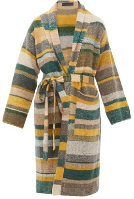 The Elder Statesman Belted Long Line Striped Cashmere Cardigan - Womens - Multi