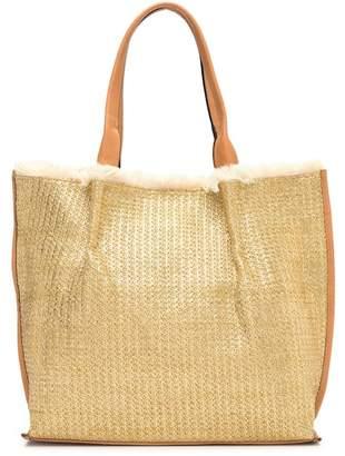 Sondra Roberts Metallic Raffia Tote Bag