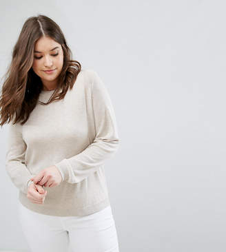 Asos Jumper With Crew Neck And Panel Detail