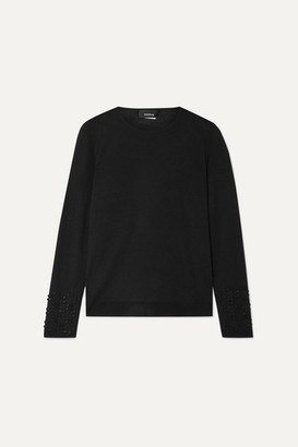 Akris Bead-embellished Cashmere And Mulberry Silk-blend Sweater - Black