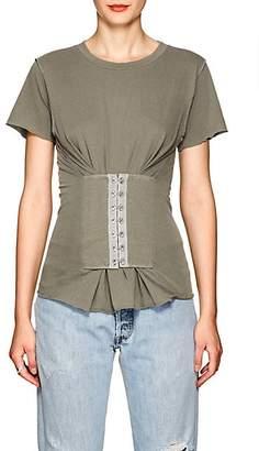 NSF Women's Jorji Corset-Detailed Cotton T-Shirt - Gray
