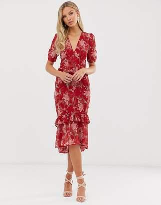 Hope & Ivy floral short sleeve ruffle detail midi dress