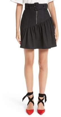 REJINA PYO Belted Ruffle Denim Miniskirt
