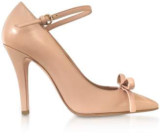 09eb5ac72bc RED Valentino Nude Patent Leather Bow Pumps