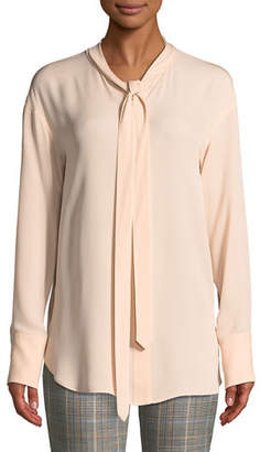 Theory Weekender Tie-Neck Long-Sleeve Classic Georgette Silk Top