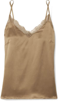 Anine Bing Lace-trimmed Silk Camisole - Gold