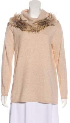 Neiman Marcus Cashmere Fur-Trimmed Top