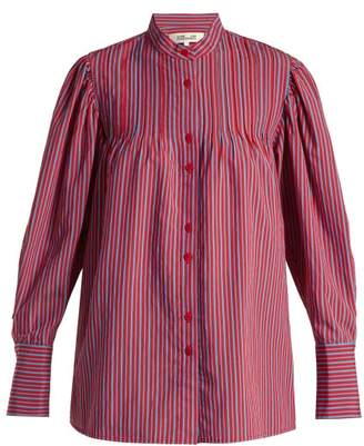 543ef150 Diane von Furstenberg Pleated Mandarin Collar Shirt - Womens - Red Stripe